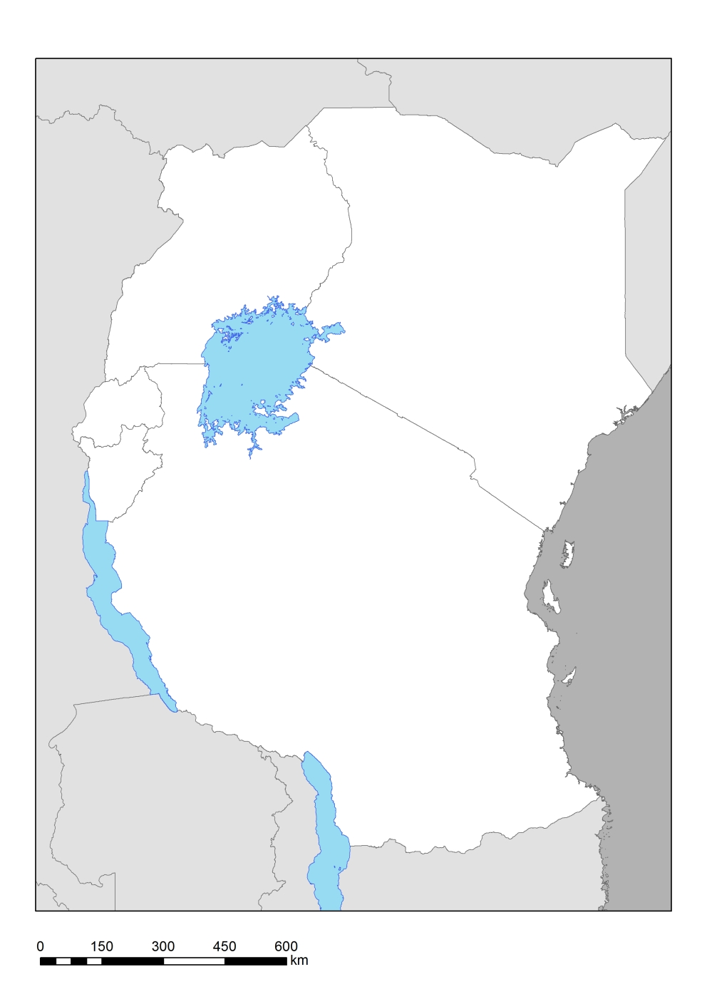 Generic Political Map Of East Africa