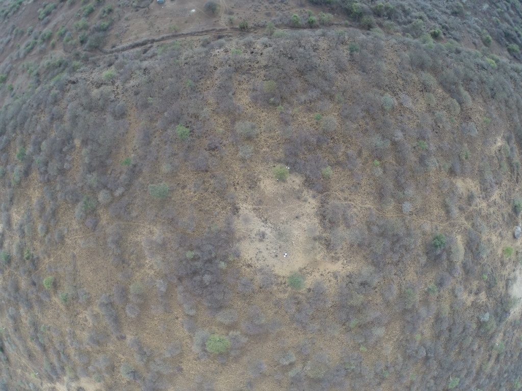 An abandoned boma as visible from above