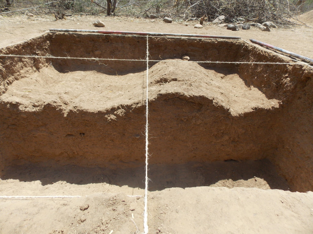 An earthen structure uncovered and half-sectioned at Oltioki