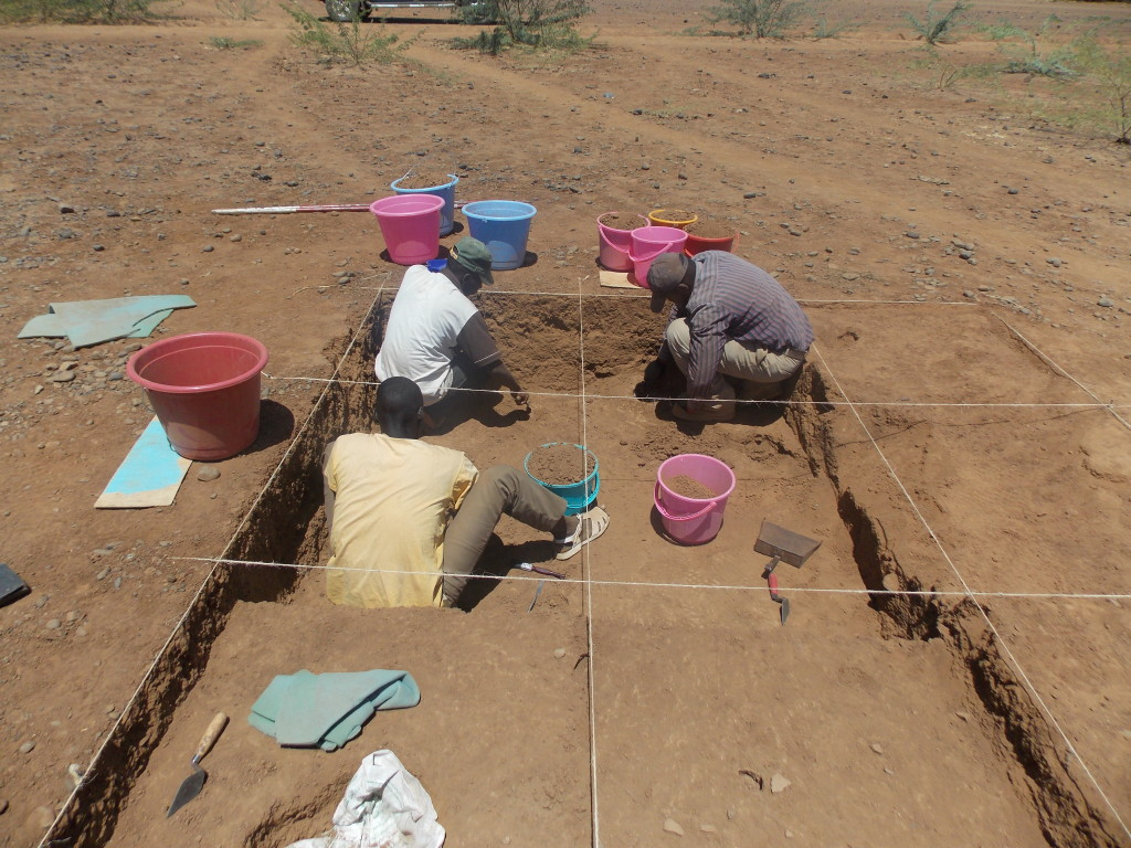 The team excavating at Sokotei 1