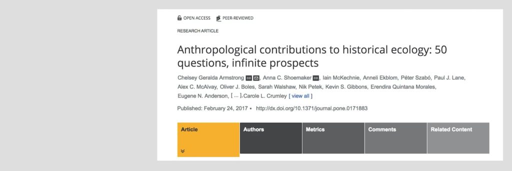 Results published on crowd-sourcing priority research questions for historical ecology